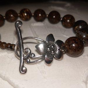 Silpada bracelet sterling silver and Bronzite